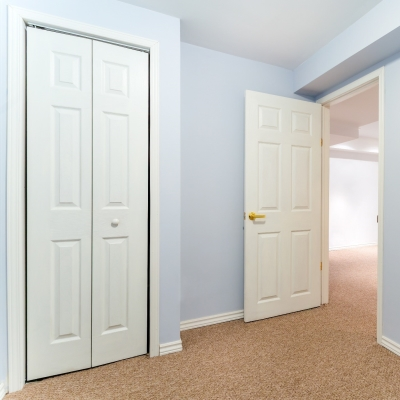 two white basement doors
