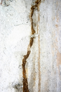 Crack with Moisture in Foundation