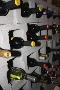 Bottles of wine in cinder blocks