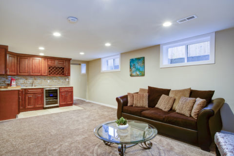 comfortable finished basement