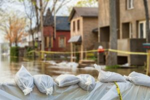 Sand Bags Protecting Homes From Water Damage